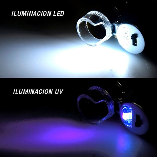 mini microscopio de bolsillo lupa zoom 60x luz led y luz uv!