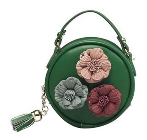 mini moda mulheres meninas pu couro flor padrão ombro saco
