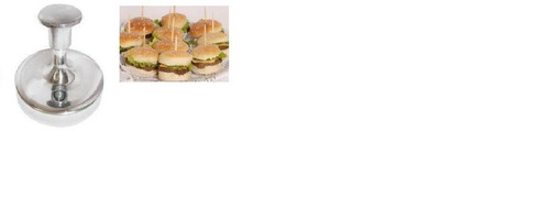 mini modelador hamburguer 6,3cm aluminio + abafador lanche
