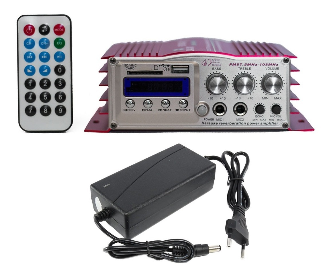 Mini Modulo Amplificador Karaoke 400 Watts Usb Sd Bluetooth