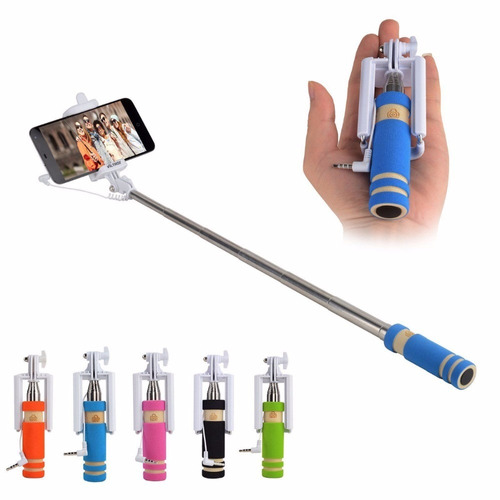 mini monopod baston para celulares. selfies! con boton+cable