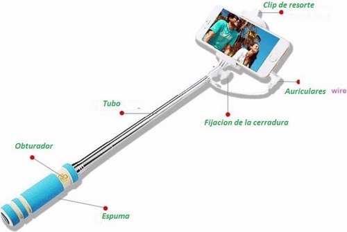 mini monopod baston para celulares selfies con cable