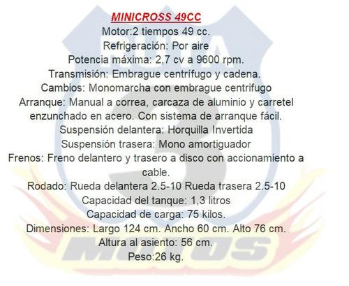 mini moto 50 2t 0km 18 cuotas de $3150 ruta 3 motos