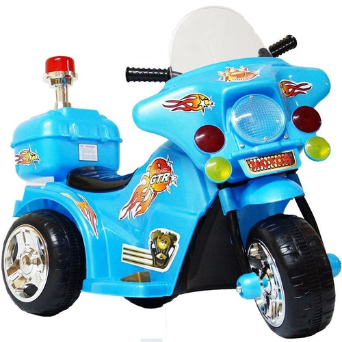 mini moto elétrica triciclo infantil bateria 6v polícia azul