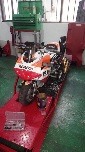 mini moto modelo tipo pista motor a gasolina 2 tiempos 49cc