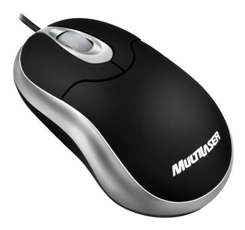 mini mouse multilaser emborrachado usb preto e prata - mo118