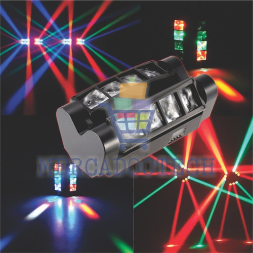 mini moving spider beam 8 leds 5w rgbw dmx + nf
