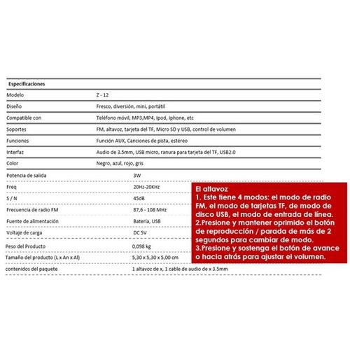 mini parlante portatil z12 radio fm, usb, microsd, aux 3.5mm
