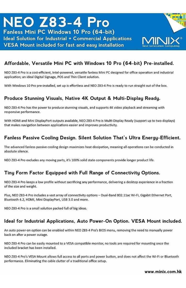 Mini Pc Minix Fba_minix-neo-z83-4-pro-vesa Intel X5-z8350