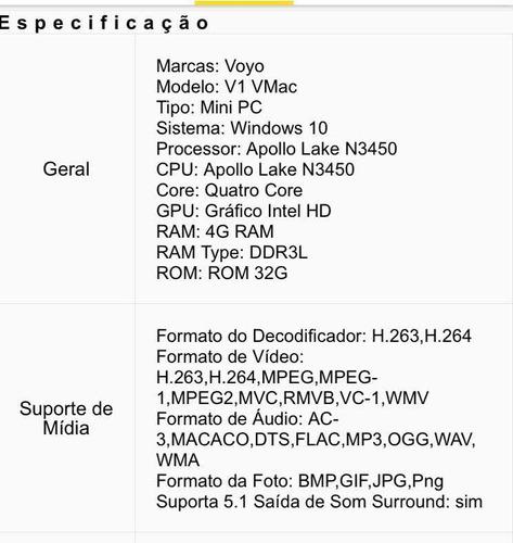 mini pc voyo v1 vmac 4gb ram 32gb windows 10 c/ defeito