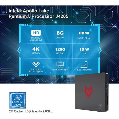 mini pc windows 10 intel pentium j4205 8gb 128gb ssd wifi 4k