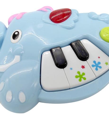 mini piano didactico elefante con luz primera infancia poppi