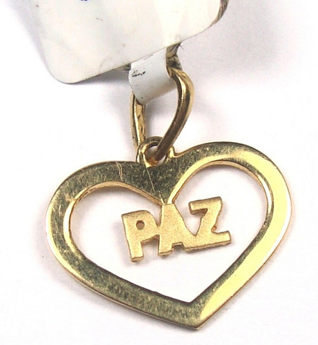 mini pingente nome paz ouro 18k frete grátis