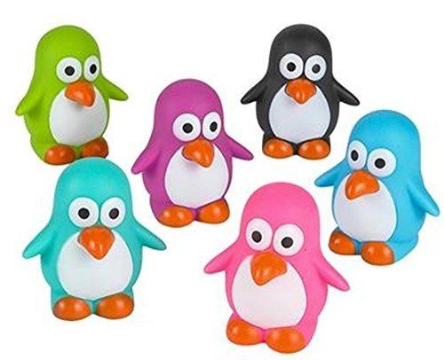 mini pingüinos de goma (paquete de 12) colores brillantes -
