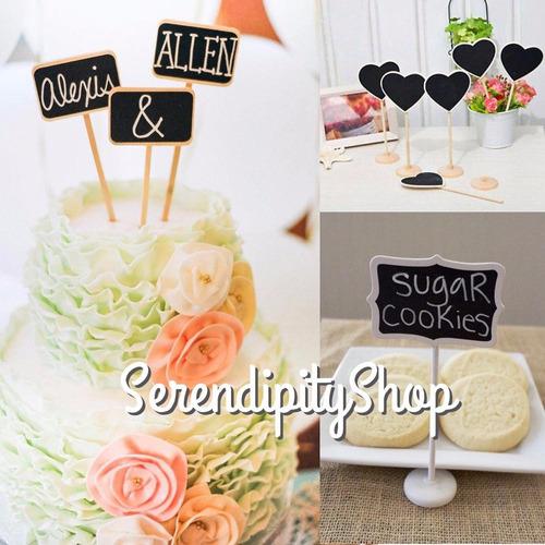 mini pizarras decoración postres tortas bodas candy bar