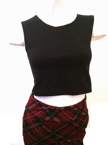 mini pollera corta lycra algodon elastizada cintura alta