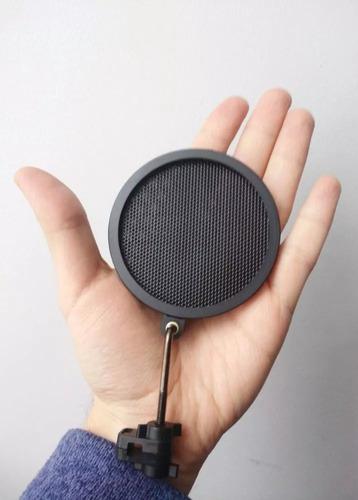 mini pop filter tela dupla microfone anti puff ruídos p e b