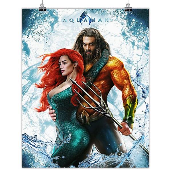 New Jason Momoa And Amber Heard Aquaman Image: Mini Poster Aquaman Mera Jason Momoa Amber Heard 20*25cm