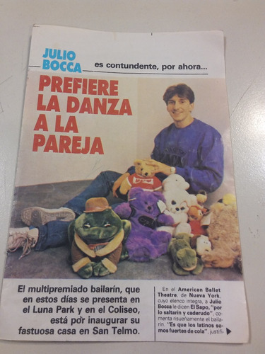 mini poster y nota de revista antigua de julio bocca