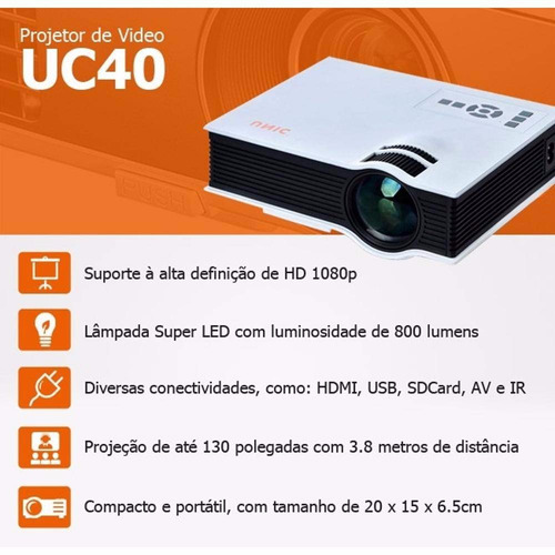 mini projetor led portatil hdmi usb 1080p 130 polegada uc 40