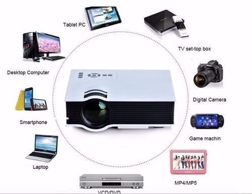 mini projetor led portatil hdmi usb 1080p 130 polegada uc40