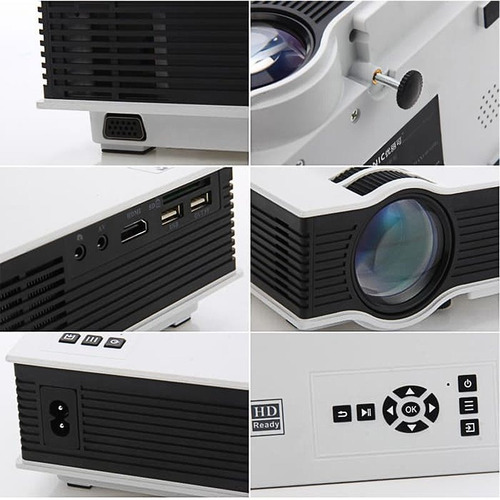 mini projetor portatil led 130pol 800lumens unic uc40 hdmi