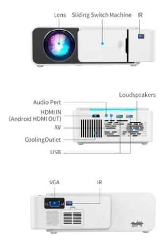 mini projetor retroprojetor datashow led portatil wifi celul