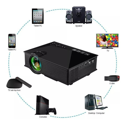 mini proyector 1200 lumens wifi hdmi vga usb av sd pc uc46+