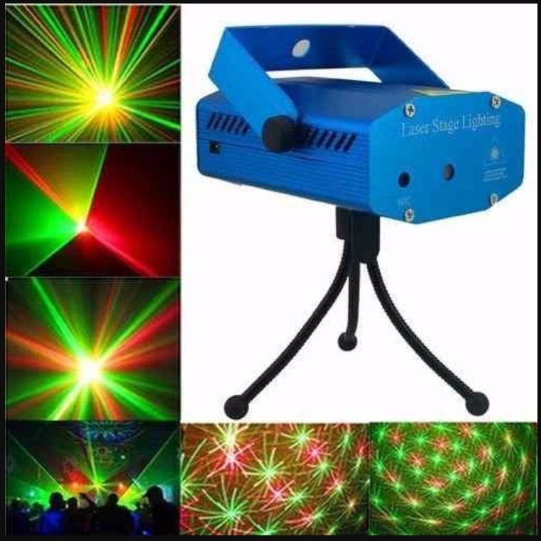 2a5ac9d95f8 Mini Proyector Caja Luz Laser 2 Color Rojo Verde Audio Ritmo ...