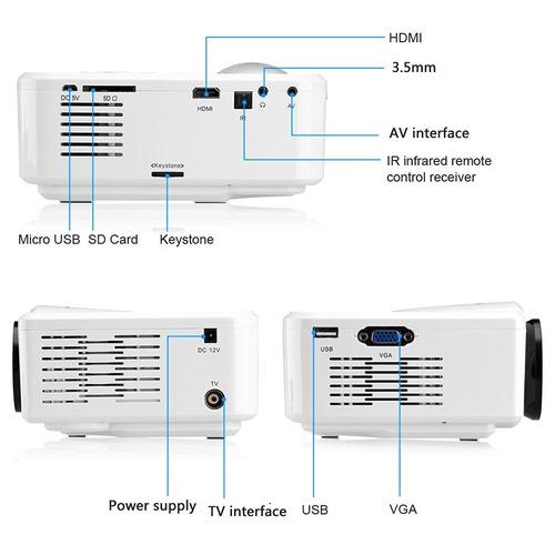 mini proyector led 800 lumenes sintonizador tv hdmi/usb/sd