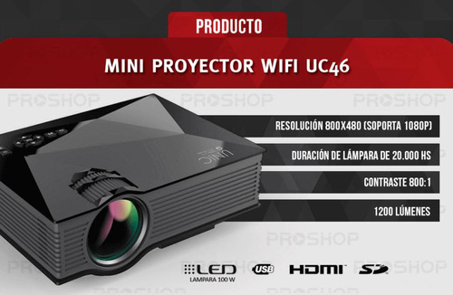 mini proyector led portatil 1200lm unic uc46+ 2019 original
