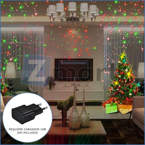 mini proyector luces laser fiesta navidad lluvia multipuntos