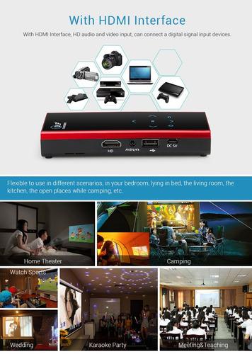 mini proyector portátil dlp soporte wifi bluetooth entrada h