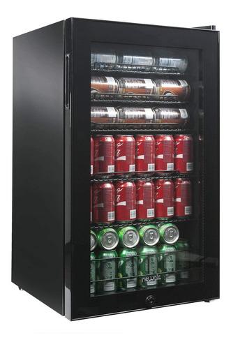 mini refrigerador acero inoxidable negro puerta de vidrio