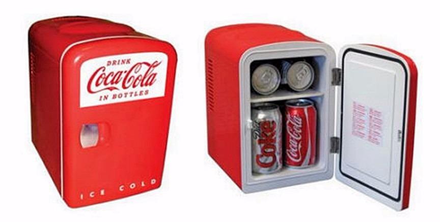 Coca Cola Fridge >> Mini Refrigerador Frigobar Coca-cola Para 6 Latas Dc Ca ...