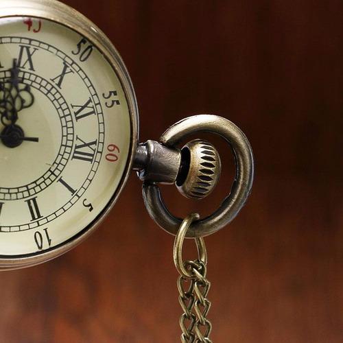 mini relógio de bolso design roman vintage bronze quartzo