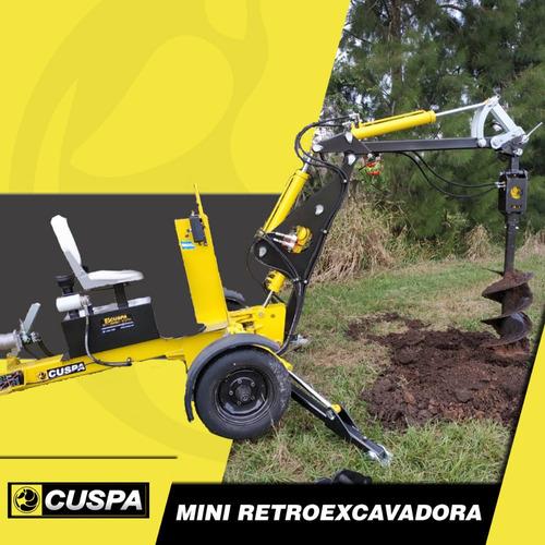 mini retro excavadora zanjadora vial cuspa