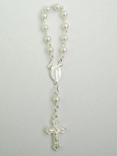 mini rosario + bolsita de organza bautismo cumpleaños