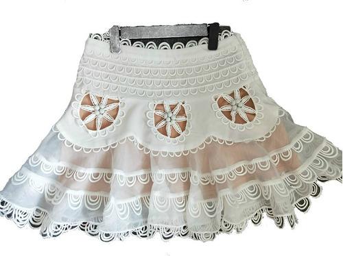 mini saia cintura alta elástico drapeado