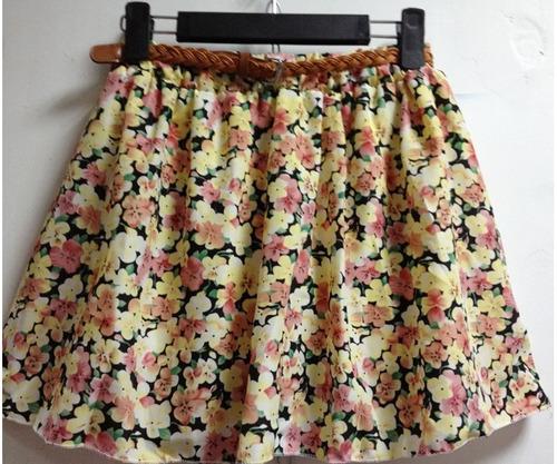 mini saia de chifon com cinto *pronta entrega*