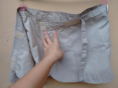 mini saia envelope velcro marca mercearia bege p usada