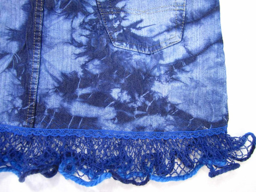 mini saia jeans 44 sawary azul marmorizada renda crochê f4