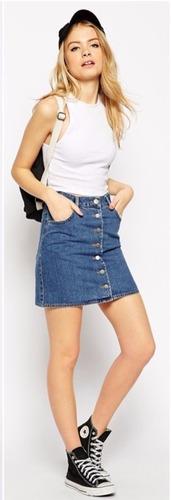 mini saia jeans botões frontal vintage bolsos 36 a 44 barato