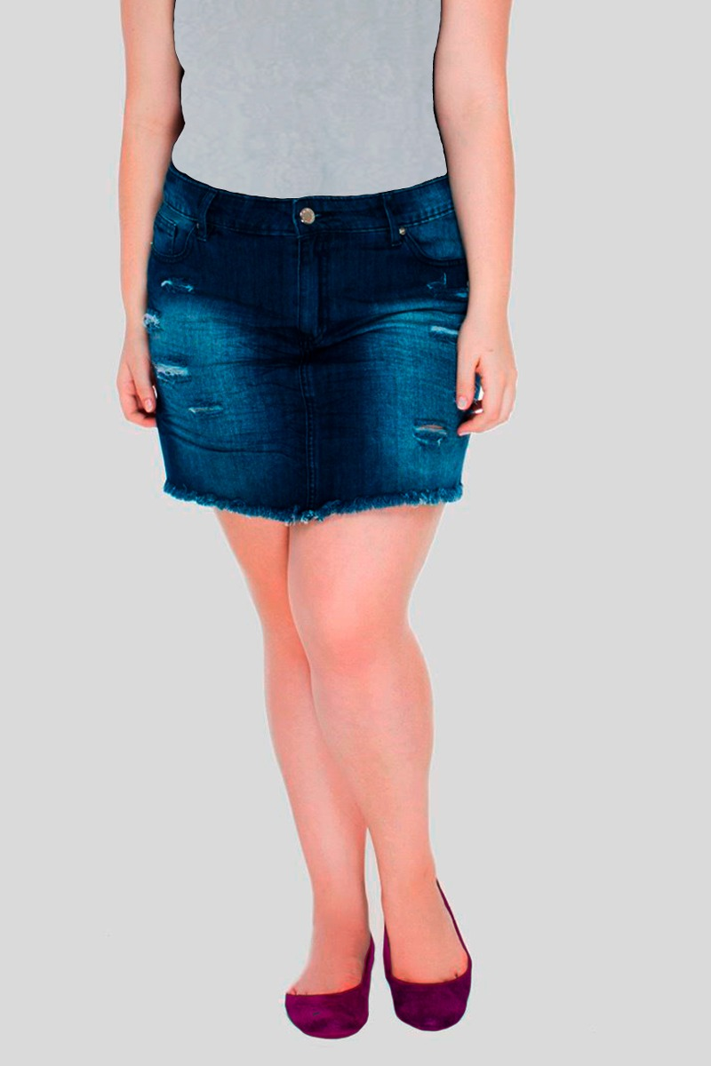 e859e9e04 mini saia jeans desfiada destroyed plus size moda feminina. Carregando zoom.