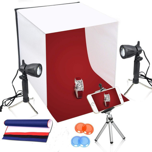 mini set fotografico portatil 40x40cm estudio led iluminacio