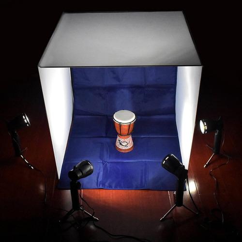 mini set fotografico portatil 60x0cm estudio led iluminacio