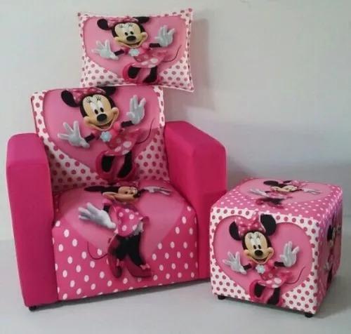 Mini Sofá Poltrona+puff+almofada Infantil Minnie