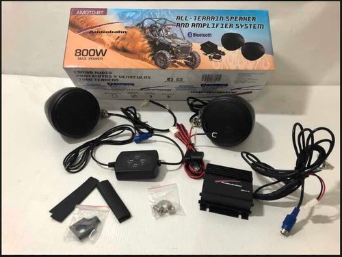mini sonido 800w moto, cuatrimoto o rzr con bluetooth 12v