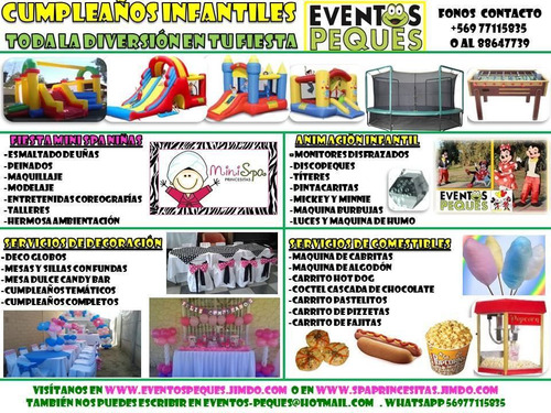 mini spa,juegos inflables,fiesta completa temática,animación
