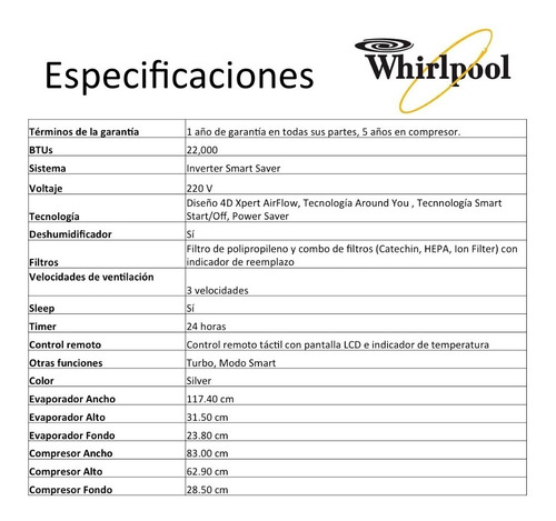 Mini Split Inverter Whirlpool 1 5 Ton 12 Meses Sin